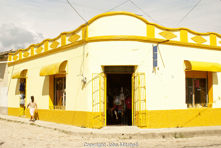 Colourful Spanish colonial building on a street corner in  the Spanish colonial town of Gracias, Lempira, Honduras...