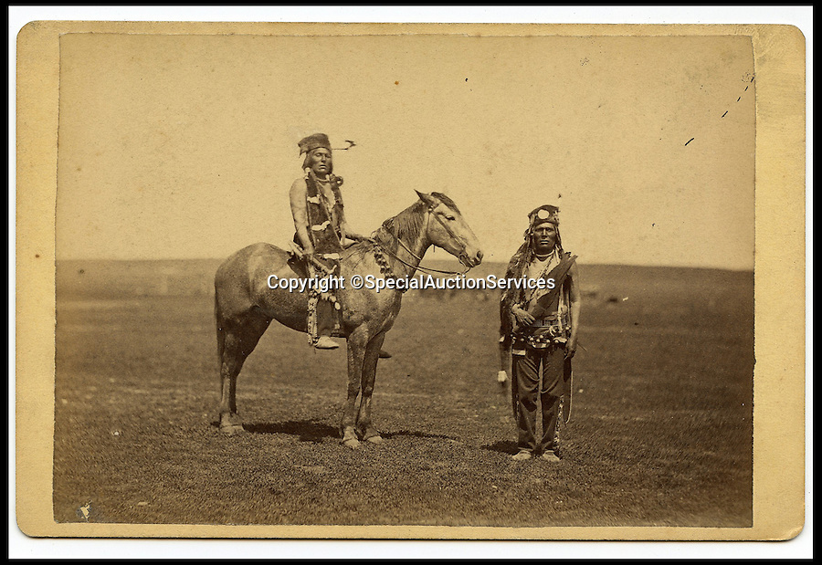 """BNPS.co.uk (01202 558833)<br /> Pic: SpecialAuctionServices/BNPS<br /> <br /> *Please use full byline*<br /> <br /> Lot 406-8. Big John & Brother, Cree Scouts.<br /> <br /> Poignant insight into a lost world...<br /> <br /> An important collection of Native American Images - including a portrait of the famous Sitting Bull - will be offered in the Photographica sale on Thursday 23rd October and is expected to fetch over £10,000.<br /> <br /> The photographs were collected by the vendor's great grandfather during his travels to America. He first journeyed to North America in 1862 to find out more about Native Indians and subsequently returned in 1866, 1874 and several times after that. The first three trips are described in a book that he wrote and published in 1890 entitled Sport and Adventures amongst the North American Indians.<br /> <br /> The collection comprises 127 images taken by pioneering photographers including American government photographer John Karl Hillers (1843- 1925) and explorer and painter William. H. Jackson. It contains portraits as well as scenes of family and working life that provide a real insight into everyday living in the 1870s – 1880s. Estimates for the group lots range from £100 to £5,000.<br /> <br /> The photographs were taken using the latest technology of the time; the invention of dry-plate made it possible for photographers to go into the wilds of native USA and document everyday life; and the use of traditional stereoscopic photography means the subjects in the portrait shots appear 3-Dimensional. <br /> <br /> Hugo Marsh, Head of Photographica says: """"This collection of photographs provides us with a greater understanding and a terrific insight into the lives of Native American Indians of the time. It is rare to see a large collection in such good condition."""""""
