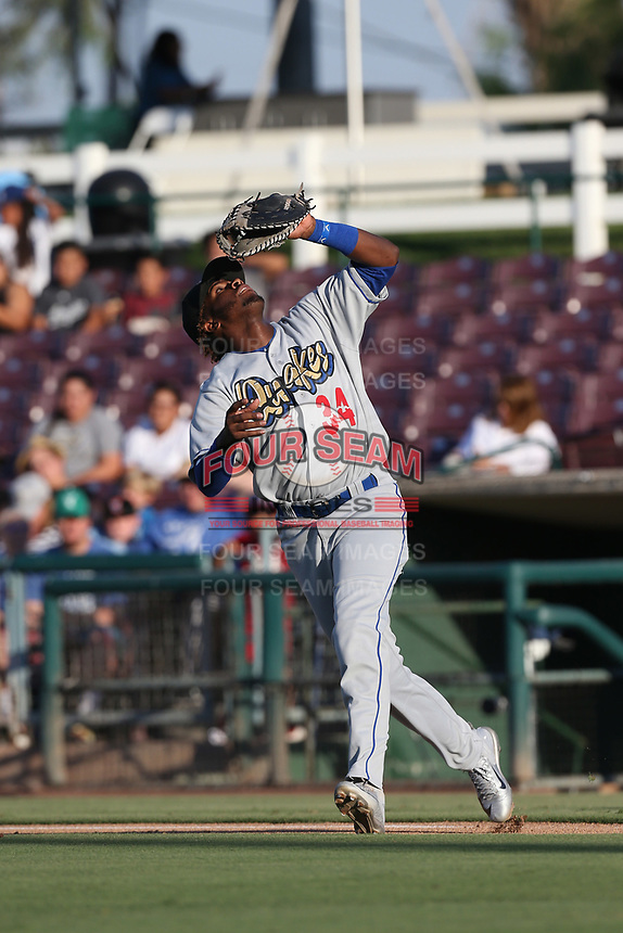 Ibandel Isabel (34) of the Rancho Cucamonga Quakes chases down a pop up during a game against the Inland Empire 66ers at San Manuel Stadium on July 29, 2017 in San Bernardino, California. Inland Empire defeated Rancho Cucamonga, 6-4. (Larry Goren/Four Seam Images)