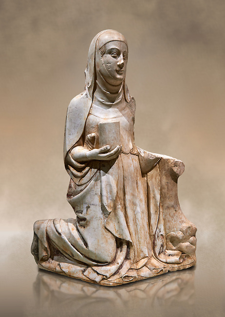 Gothic marble statue of Mary Magdelane (Magdelena) by Mestre de Pedralbes of Barcelona, 2nd half of 14th Century, from the cemetery of the cathedral of Barcelona.  National Museum of Catalan Art, Barcelona, Spain, inv no: MNAC  9797. Against a art background.