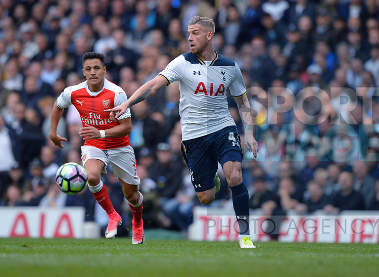 Toby Alderweireld of Tottenham Hotspur during the English Premier League match at the White Hart Lane Stadium, London. Picture date: April 30th, 2017.Pic credit should read: Robin Parker/Sportimage