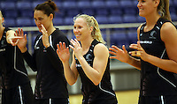 29.10.2015 Silver Ferns Laura Langman in action during the Silver Ferns training ahead of the final test match against the Australian Diamonds in Perth Australia. Mandatory Photo Credit ©Michael Bradley.