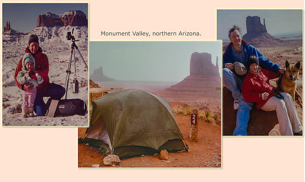 Stock photography and family camping over the years at Monument Valley, Arizona. Same daughter.