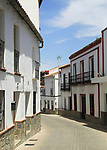 Whitewashed buildings narrow street, Montejaque, Serrania de Ronda, Malaga province, Spain