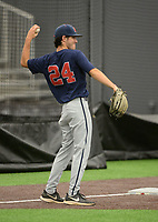 NWA Democrat-Gazette/ANDY SHUPE<br /> Ole Miss pitcher Zack Phillips warms up Friday, June 7, 2019, during practice in The Fowler Family Baseball and Track Training Center ahead of today's NCAA Super Regional game at Baum-Walker Stadium in Fayetteville. Visit nwadg.com/photos to see more photographs from the practices.