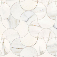 Elodie, a stone waterjet mosaic, show in polished Calacatta Gold.