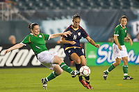 Republic of Ireland (IRL) midfielder Sonya Hughes (6) and United States (USA) midfielder Carli Lloyd (11). The United States Women's National Team (USA) defeated the Republic of Ireland (IRL) 2-0 during an international friendly at Lincoln Financial Field in Philadelphia, PA, on September 13, 2008.