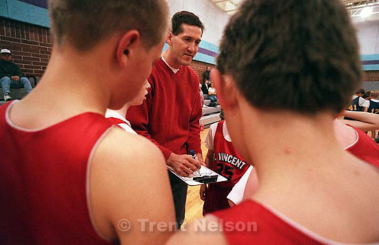 Jeff Hornacek coaches his son's team, the St. Vincent Vikings basketball team, immediately after playing in a Utah Jazz NBA game vs. the Seattle Supersonics.<br />