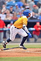 Beer City Tourists shortstop Carlos Herrera (2) runs to first base during a game against the Lakewood BlueClaws at McCormick Field on June 1, 2017 in Asheville, North Carolina. The Tourists defeated the BlueClaws 8-5. (Tony Farlow/Four Seam Images)