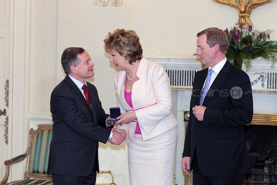 9/3/11 Brendan Howlin, Minister for Public Expenditure with President Mary McAleese and Taoiseach Enda Kenny at Aras An Uachtarain for the appoinment of the Government. Pictures:Arthur Carron/Collins