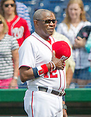 Washington Nationals manager Dusty Baker (12) listens to the National Anthem prior to the game against Chicago Cubs against the Washington Nationals at Nationals Park in Washington, D.C. on Wednesday, June 15, 2016.  The Nationals won the game 5 - 4 in twelve innings.<br /> Credit: Ron Sachs / CNP