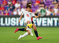 ORLANDO, FL - MARCH 05: Mina Tanaka #15 takes a shot during a game between Spain and Japan at Exploria Stadium on March 05, 2020 in Orlando, Florida.