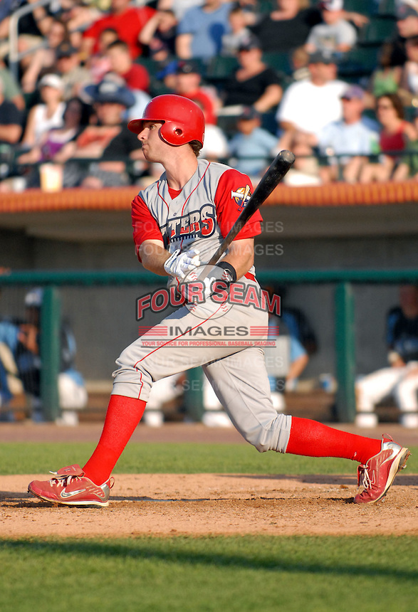 1B Stephen Batts of the Williamsport Crosscutters, the short season A ball affiliate of the Philadelphia Phillies,at Edward LeLacheur Park in Lowell,MA on July 18, 2009 (Photo by Ken Babbitt/Four Seam Images)