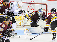 San Antonio Rampage's Greg Rallo attacks the net in front of Chicago Wolves goaltender Eddie Lack during the third period of an AHL hockey game, Wednesday, April 4, 2012, in San Antonio. San Antonio won 2-1. (Darren Abate/pressphotointl.com)