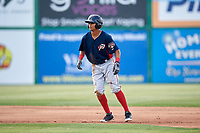 Potomac Nationals center fielder Blake Perkins (22) leads off second base during the first game of a doubleheader against the Lynchburg Hillcats on June 9, 2018 at Calvin Falwell Field in Lynchburg, Virginia.  Lynchburg defeated Potomac 5-3.  (Mike Janes/Four Seam Images)