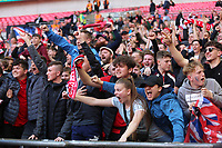 Salford City fans celebrate during AFC Fylde vs Salford City, Vanarama National League Play-Off Final Football at Wembley Stadium on 11th May 2019