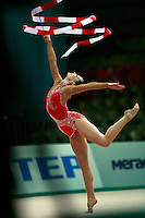 "Irina Risenson of Israel performs with ribbon at 2008 World Cup Kiev, ""Deriugina Cup"" in Kiev, Ukraine on March 22, 2008."