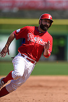 Philadelphia Phillies infielder Russ Canzler (68) during an exhibition game against the University of Tampa on March 1, 2015 at Bright House Field in Clearwater, Florida.  University of Tampa defeated Philadelphia 6-2.  (Mike Janes/Four Seam Images)