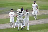 Lancashire players celebrate the run out of Ryan ten Doeschate during Lancashire CCC vs Essex CCC, Specsavers County Championship Division 1 Cricket at Emirates Old Trafford on 10th June 2018