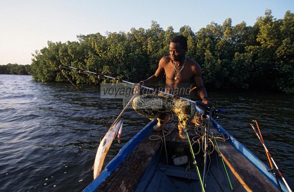 Afrique/Afrique de l'Ouest/Sénégal/Parc National de Basse-Casamance : Bolon de Katakalousse - Jean-Baptiste pêcheur prenant un barracuda