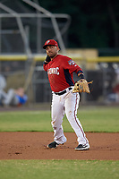 Potomac Nationals third baseman Austin Davidson (11) throws to first base during a Carolina League game against the Myrtle Beach Pelicans on August 14, 2019 at Northwest Federal Field at Pfitzner Stadium in Woodbridge, Virginia.  Potomac defeated Myrtle Beach 7-0.  (Mike Janes/Four Seam Images)