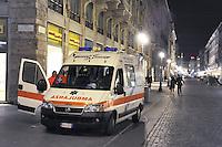 - Milan, ambulance in overnight service in Dante street....- Milano, ambulanza in sevizio notturno in via Dante