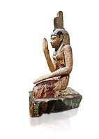 Ancient Egyptian wooden statue of osiris weeping, Late Period (664-332 BC). Egyptian Museum, Turin. Drovetti Cat 203.  white background.
