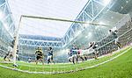 Stockholm 2014-04-16 Fotboll Allsvenskan Djurg&aring;rdens IF - AIK :  <br /> Djurg&aring;rdens Simon Tibbling nickar undan en nick p&aring; m&aring;llinjen av AIK:s Eero Markkanen under den f&ouml;rsta halvleken<br /> (Foto: Kenta J&ouml;nsson) Nyckelord:  Djurg&aring;rden DIF Tele2 Arena AIK remote remotekamera