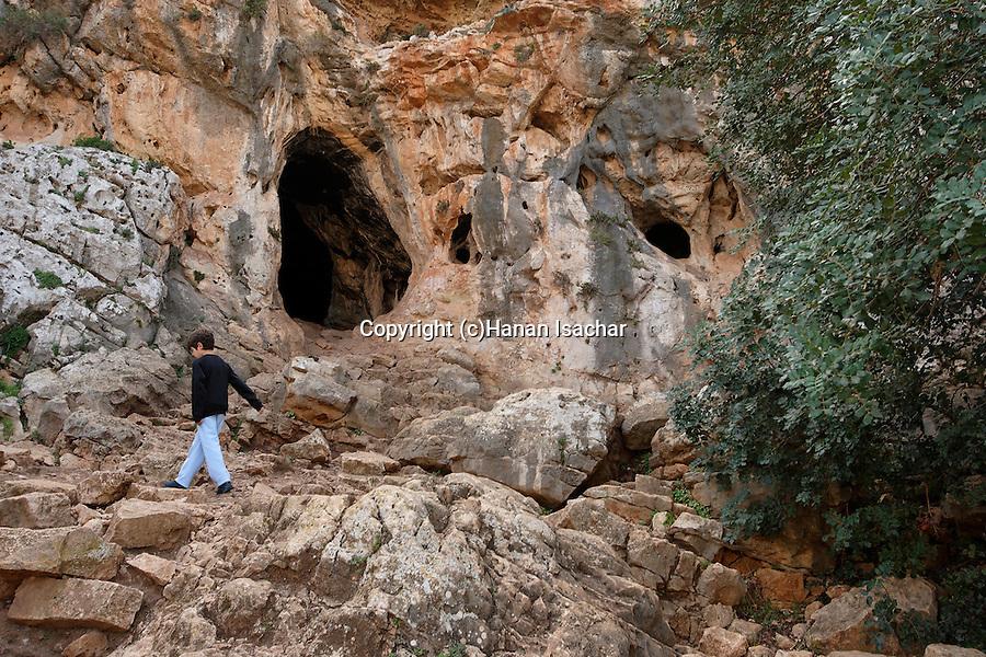 Israel, Carmel. Etzbe cave in Wadi Oren