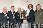 MUSEUM CUP: Michael Scannell, (centre) the President of the Thomas Ashe Branch of the Organisation of National Ex service men and women (ONE), hands over the Thomas Ashe Cup to Griffin Murray, collections officer at Kerry County Museum on a long term loan at a special ceremony last Saturday morning in the Ashe Memorial hall, Denny St., Tralee.