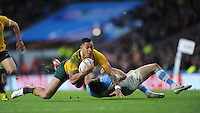 Israel Folau of Australia collides with Marcelo Bosch of Argentina during the Semi Final of the Rugby World Cup 2015 between Argentina and Australia - 25/10/2015 - Twickenham Stadium, London<br /> Mandatory Credit: Rob Munro/Stewart Communications