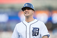 Detroit Tigers first base coach Omar Vizquel (13) during the game against the Chicago White Sox at Comerica Park on June 2, 2017 in Detroit, Michigan.  The Tigers defeated the White Sox 15-5.  (Brian Westerholt/Four Seam Images)