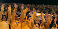 WVU fans. The West Virginia Mountaineers defeated the South Florida Bulls 20-6 on October 14, 2010 at Mountaineer Field, Morgantown, West Virginia.