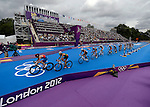 LONDON, ENGLAND - AUGUST 7:  A general view of the bikes through the transition area during the Men's Triathlon Final, Day 12 of the London 2012 Olympic Games on August 7, 2012 at Hyde Park in London, England. (Photo by Donald Miralle)