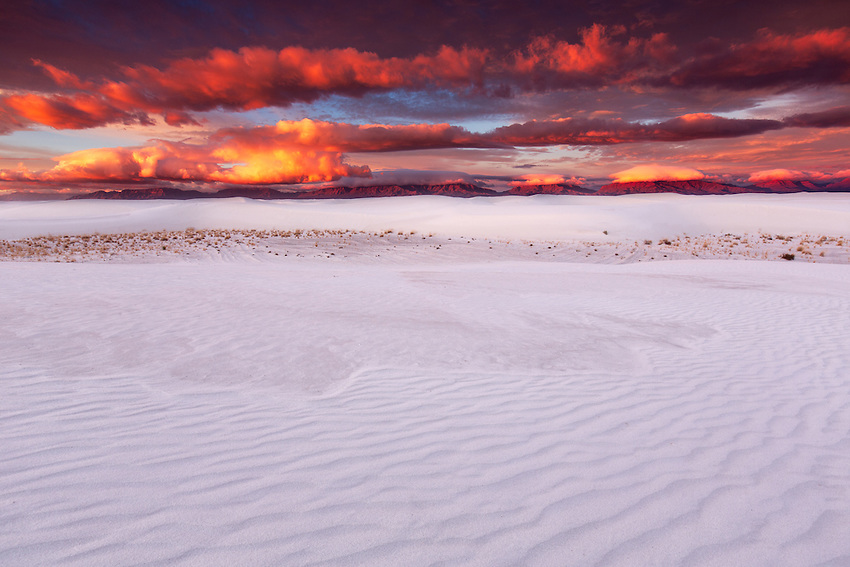 Sunrise above gypsum sand dunes, White Sands National Monument, New Mexico