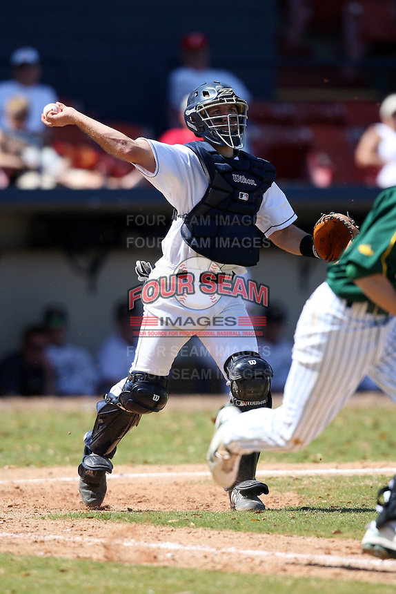 March 14, 2010:  Catcher John Turk (21) of the Akron Zips vs. the Yale Bulldogs in a game at Chain of Lakes Park in Winter Haven, FL.  Photo By Mike Janes/Four Seam Images