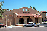 Mission RR Stations: Santa Fe RR Station, Porterville, CA.--1918. Now a Senior Center. Photo 2000.
