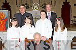 Douglas NS pupils that was confirmed by Bishop Bill Murphy in St James Church Killorglin on Friday l-r: Lauren Hurley, Alannah Foley, Canon Michael Fleming, Sean Autridge, Neil O'Leary teacher and Tracey Riordan.