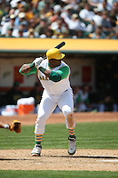OAKLAND, CA - MAY 4:  Frank Thomas of the Oakland Athletics bats during the game against the Texas Rangers at the McAfee Coliseum in Oakland, California on May 4, 2008. This was a turn back the clock day game that featured both teams wearing 1968 era uniforms. The Rangers wore Washington Senators uniforms. Photo by Brad Mangin