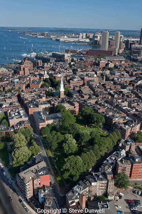 Copps Hill burying ground, North End, Boston, MA + Old North Church, aerial view
