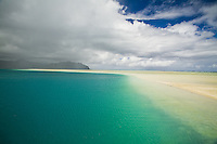 Rain squall and clouds approaching Kaneohe Sandbar on the windward side of Oahu