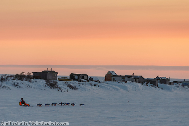 Alan Eischens on the trail a few miles from Nome at sunset on Saturday March 21, 2015 during Iditarod 2015.  <br /> <br /> (C) Jeff Schultz/SchultzPhoto.com - ALL RIGHTS RESERVED<br />  DUPLICATION  PROHIBITED  WITHOUT  PERMISSION