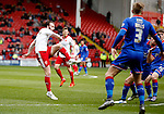 John Brayford of Sheffield Utd scoring the first goal during the Sky Bet League One match at The Bramall Lane Stadium. Photo credit should read: Simon Bellis/Sportimage