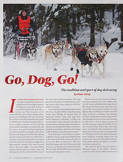 Lead photo of a story on dogsledding. Nelson Kenter photo, used in a magazine