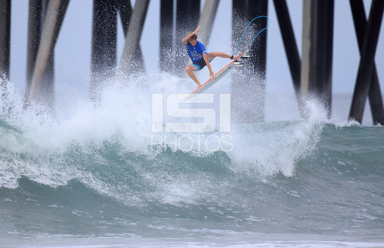 Huntington Beach, CA - Sunday July 30, 2017: Taylor Clark during a Qualifying Series (QS) trials round heat in the 2017 Vans US Open of Surfing on the South side of the Huntington Beach pier.