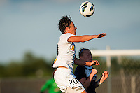 Western New York Flash forward Abby Wambach (20) goes up for a header with Sky Blue FC defender CoCo Goodson (2). The Western New York Flash defeated Sky Blue FC 3-0 during a National Women's Soccer League (NWSL) match at Yurcak Field in Piscataway, NJ, on June 8, 2013.