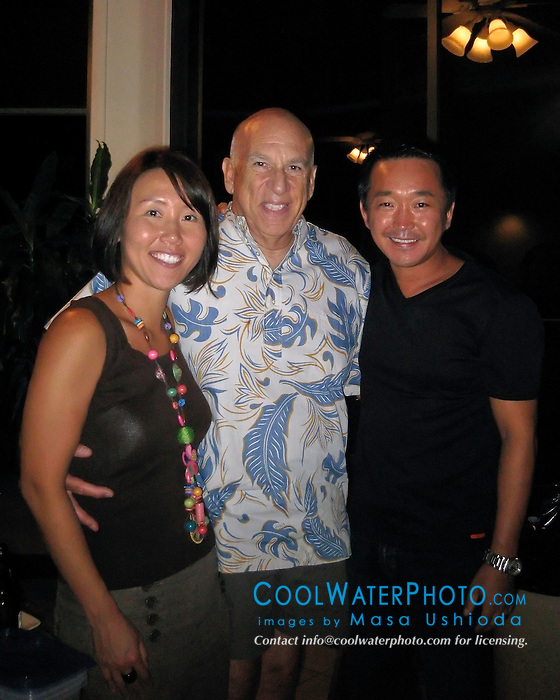 Wildlife photographer Steve Drogin and his wife Hiro along with photographer, Masa Ushioda, Kona, Big Island, Hawaii, USA