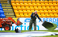 1st March 2020; McDairmid Park, Perth, Perth and Kinross, Scotland; Scottish Premiership Football, St Johnstone versus Celtic; The St Johnstone groundsman spreads green sand on the pitch to help with the wet conditions