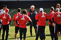 New York Red Bulls head coach Hans Backe talks to the team during practice on Media Day at Red Bull Arena in Harrison, NJ, on March 15, 2011.