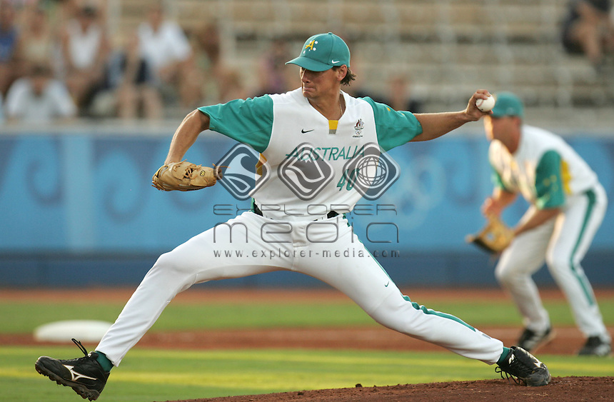 Adrian Burnside (AUS)<br /> Baseball - Men's Preliminary, Australia vs Canada<br /> Summer Olympics - Athens, Greece 2004<br /> Day 09, 22nd August 2004.<br /> &copy; Sport the library/Sandra Teddy